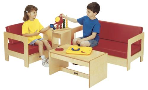 Red living room set 4 pc day care center furniture for Kids overstuffed chair
