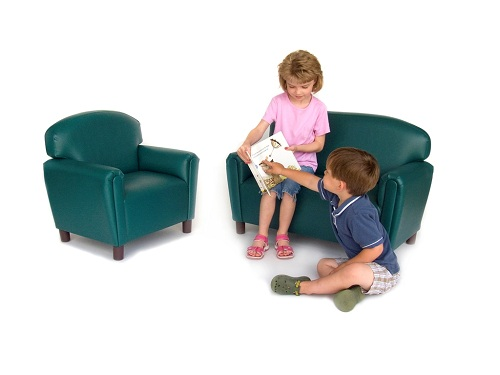 Premium vinyl chair teal day care center furniture for Kids overstuffed chair