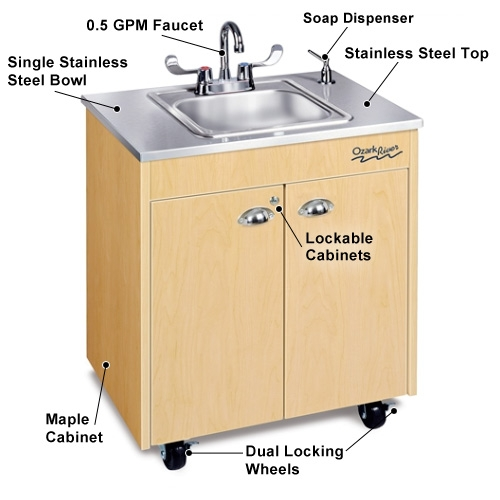 Ozark River® Lil Premier Portable Hot Water Sink With Stainless Steel Top  And Basin