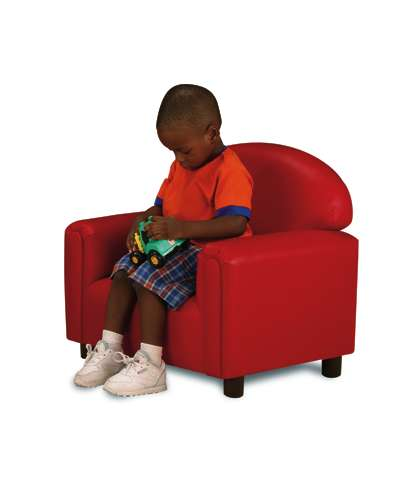 Premium vinyl chair red daycare furniture suppliers for Kids overstuffed chair