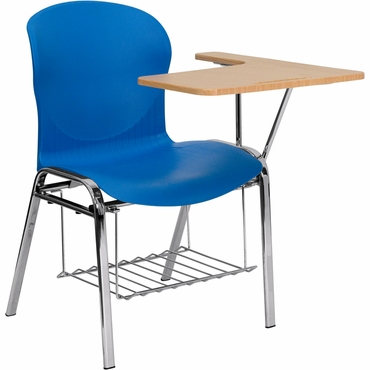 hercules series blue shell chair with left handed laminate tablet arm and book rack