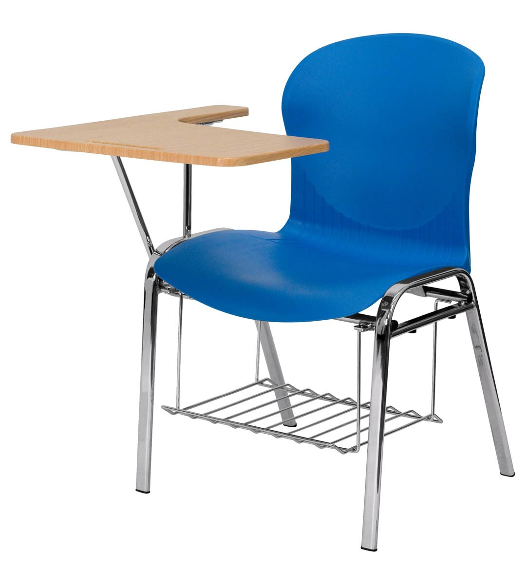 HERCULES Series Blue Shell Chair With Right Handed Laminate Tablet Arm And  Book Rack